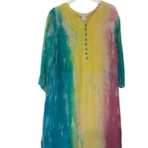 Soft Surroundings Tie dye silk Muumu sz PL